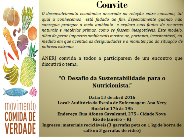 O Desafio da Sustentabilidade para o Nutricionista.